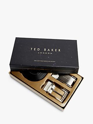 Ted Baker Gainer Reversible Leather Belt in a Box, One Size, Black/Brown