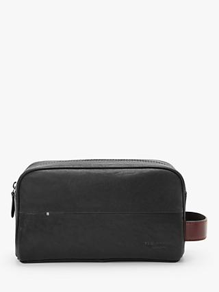 Ted Baker Leather Wash Bag, Black