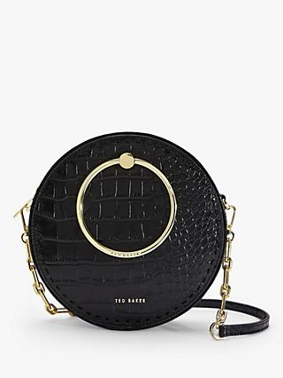 Ted Baker Astorii Leather Croc Print Circular Cross Body Bag