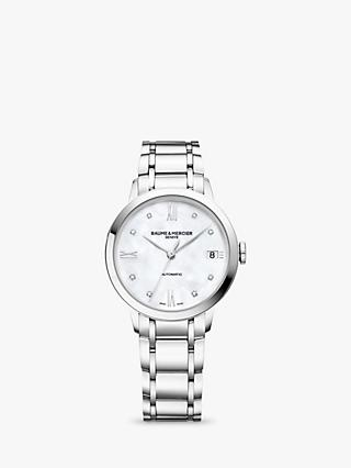 Baume et Mercier M0A10496 Women's Classima Automatic Diamond Date Bracelet Strap Watch, Silver/White