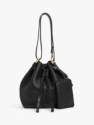 AND/OR Small Leather Drawstring Shoulder Bag, Black Snake