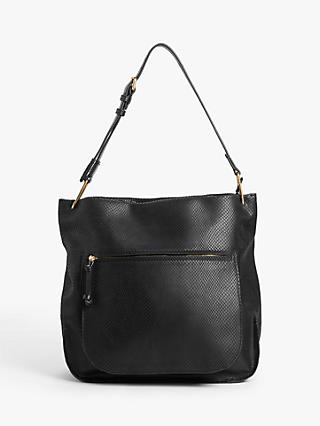 AND/OR Leather Snake Hobo Bag, Black
