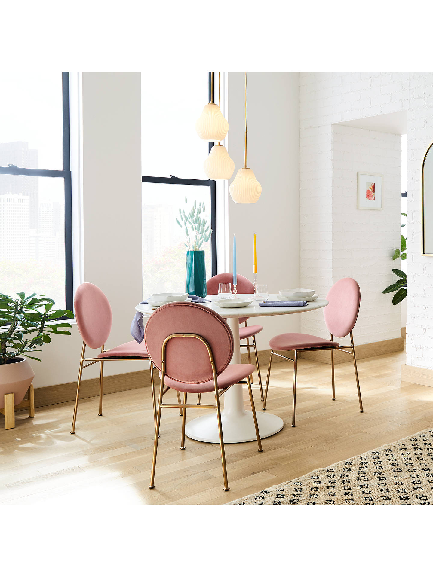 West Elm Liv 4 Seater Round Marble Dining Table White At John Lewis Partners