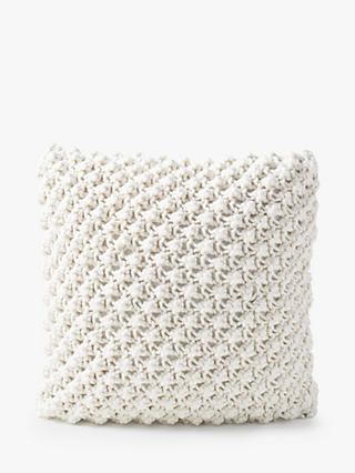 west elm Bobble Knit Square Cushion, Natural
