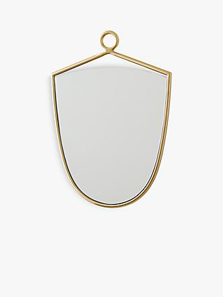 west elm Metal Loop Shield Mirror, Antique Brass