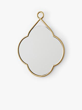 west elm Metal Loop Clover Mirror, Antique Brass