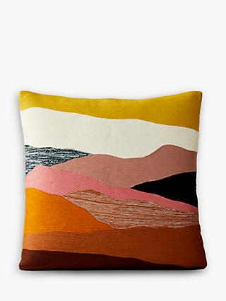 west elm Crewel Landscape Cushion, Multi