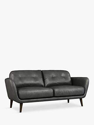 House by John Lewis Arlo Medium 2 Seater Leather Sofa, Dark Leg, Winchester Anthracite