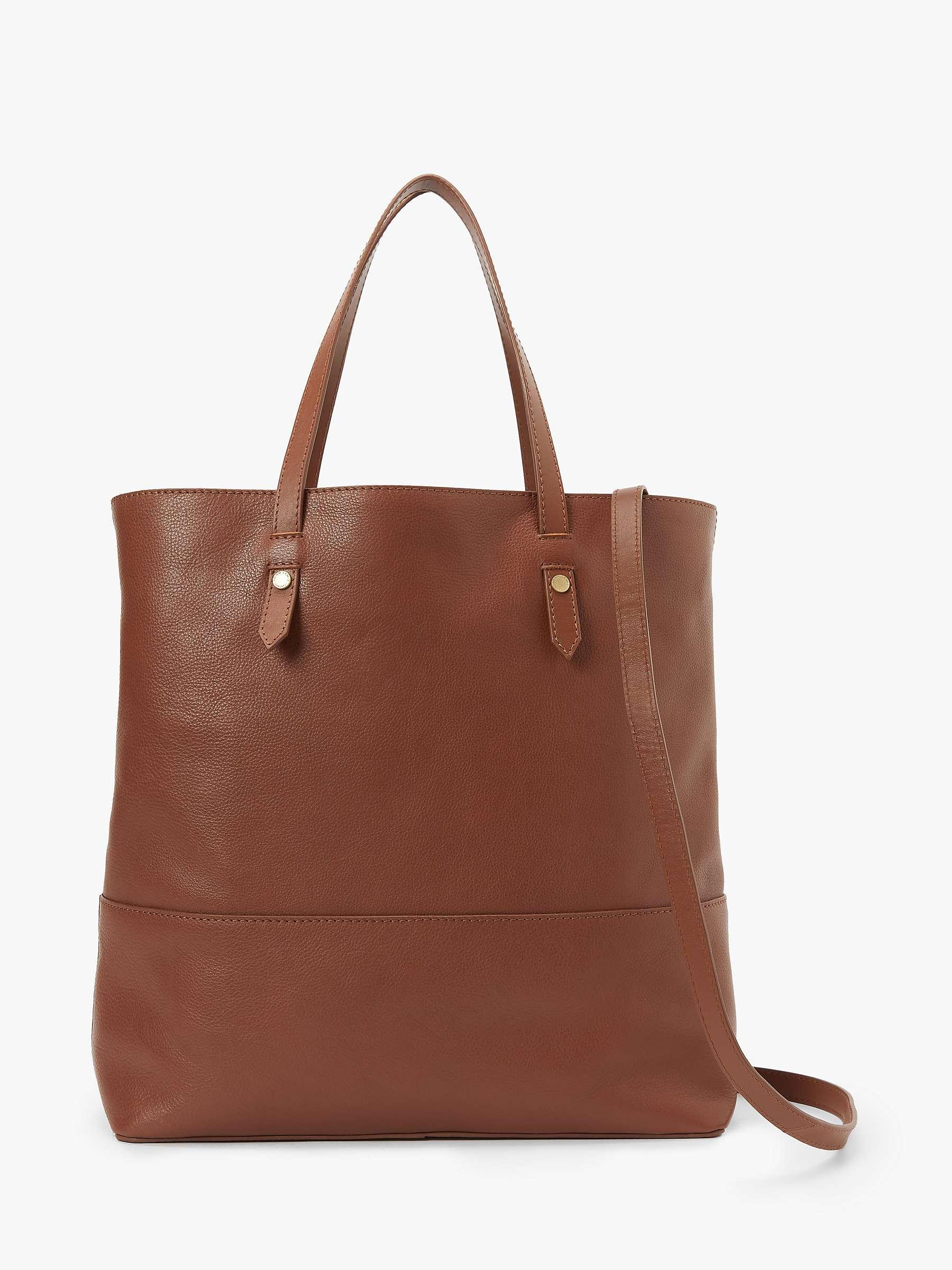 John Lewis Partners Leather Work Tote Bag Tan At