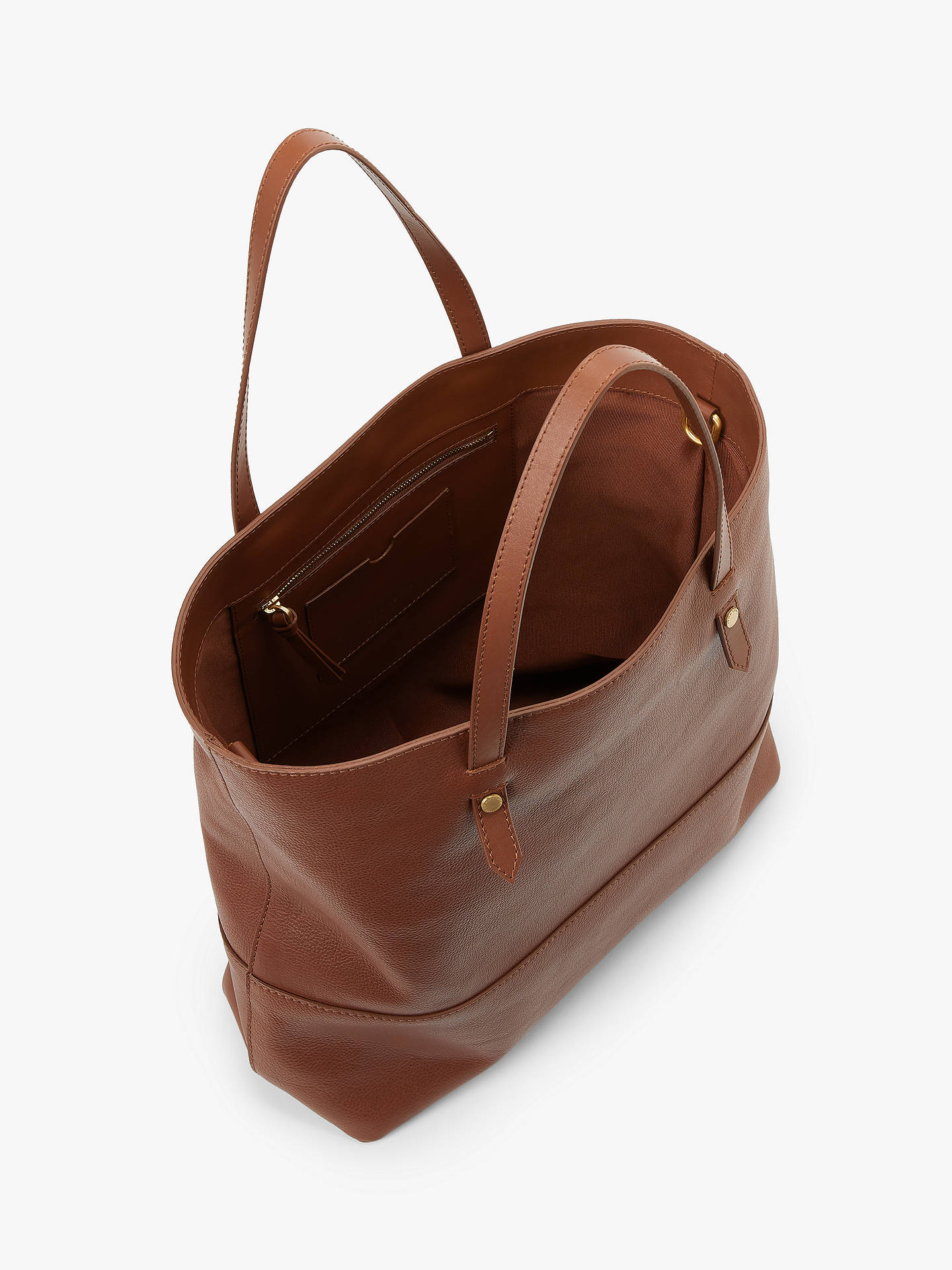 Buy John Lewis & Partners Leather Work Tote Bag, Tan Online at johnlewis.com