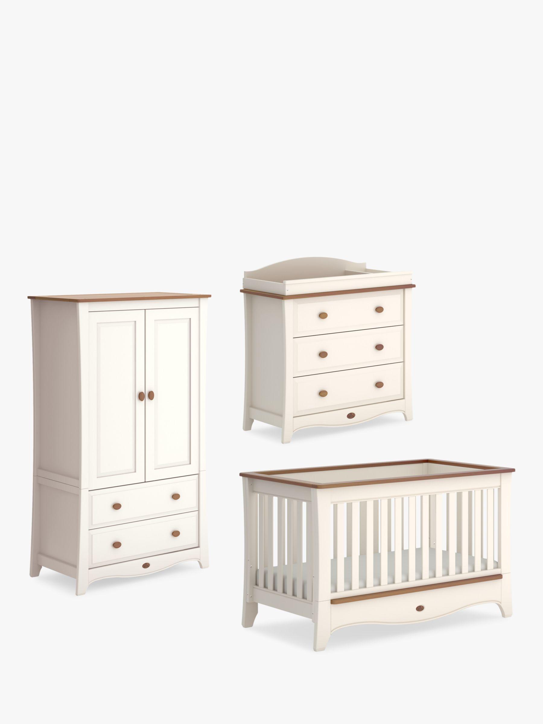 Boori Boori Provence Convertible Plus Cotbed, Wardrobe & 3 Drawer Dresser, Cream/Pecan