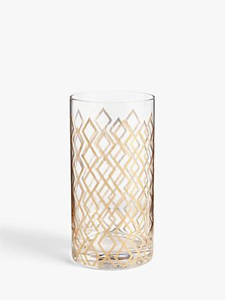 John Lewis & Partners Fusion Geometric Highball Glass, 400ml, Gold/Clear
