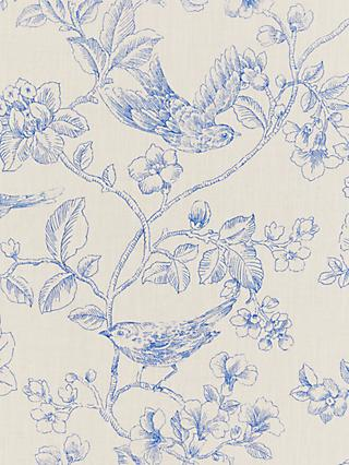 John Lewis & Partners Nightingales Made to Measure Curtains or Roman Blind, China Blue