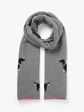 Wyse London Sausage Dog Cashmere Scarf, Charcoal/Multi