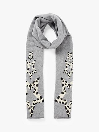 Wyse London Kenya Animal Print Star Cashmere Scarf, Mid Grey