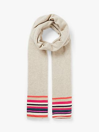 Wyse London Estelle Stripe Cashmere Scarf, Taupe/Multi