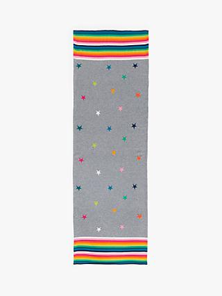 Wyse London Pauline Stars and Stripes Cashmere Scarf, Mid Grey/Multi