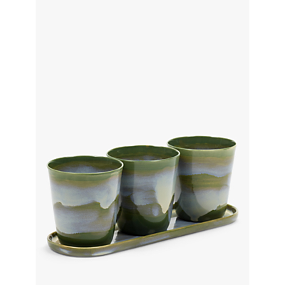 Serax Herb Pots with Saucer, Small, Set of 3
