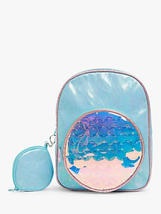 John Lewis & Partners Mermaid Backpack with Purse, Blue