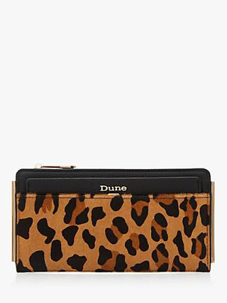 Dune Kantelle Leather Slimline Purse, Leopard Print