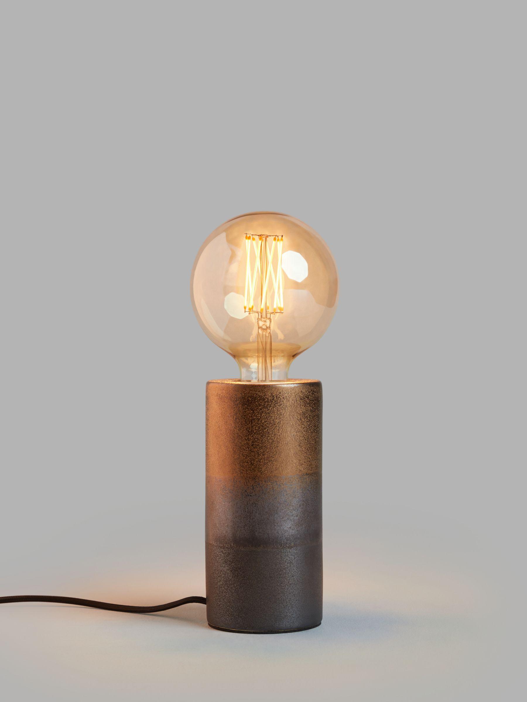 John Lewis & Partners Delaney Metallic Glaze Bulbholder Table Lamp, Bronze