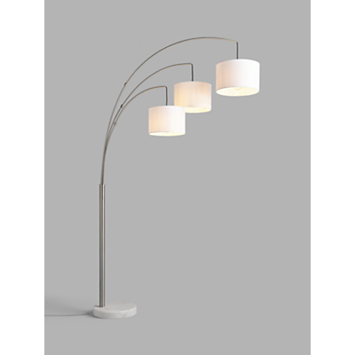 House by John Lewis Angus 3 Arm Arched Floor Lamp, Brushed Steel