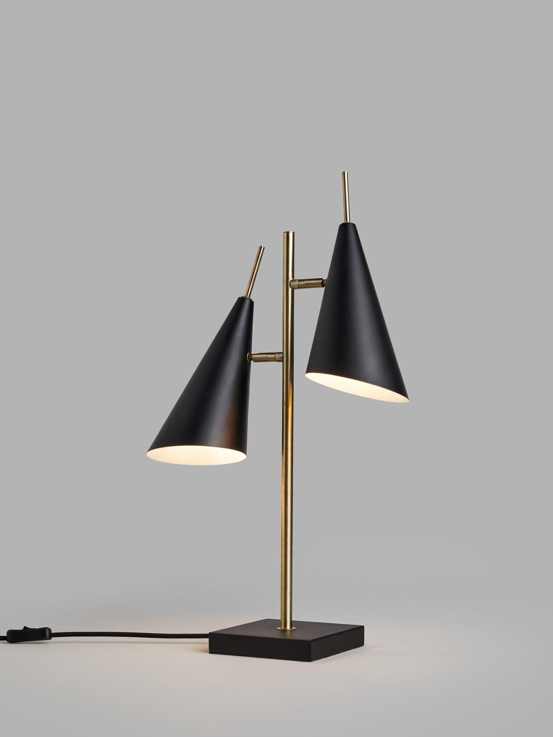 John Lewis & Partners Conic Table Lamp, Black/Brass