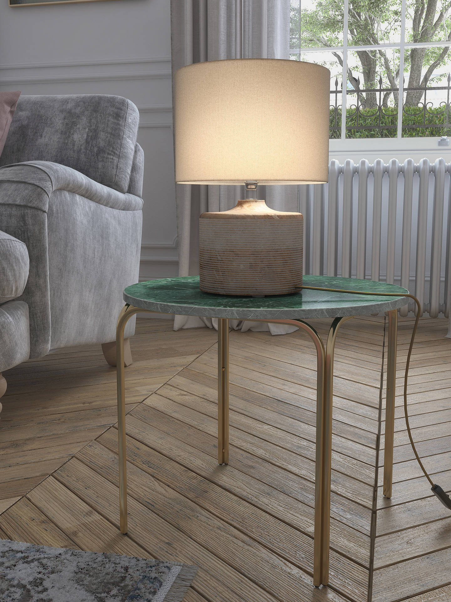 Buy John Lewis & Partners Ira Ribbed Wooden Table Lamp, Natural Online at johnlewis.com