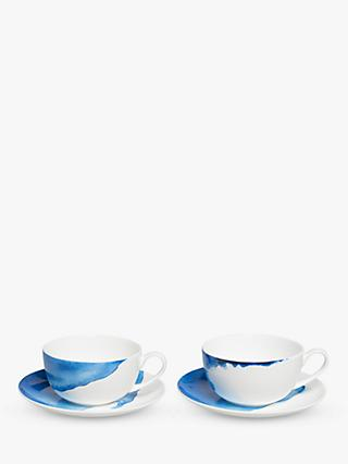 Rick Stein Coves of Cornwall Cappuccino Cup & Saucer, 350ml, Set of 2, Blue/White