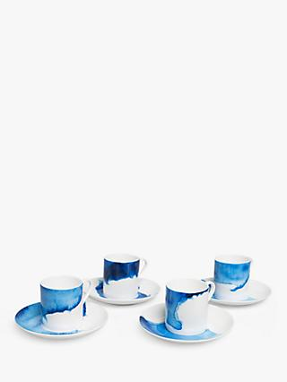 Rick Stein Coves of Cornwall Espresso Cup & Saucer, 75ml, Set of 4, Blue/White
