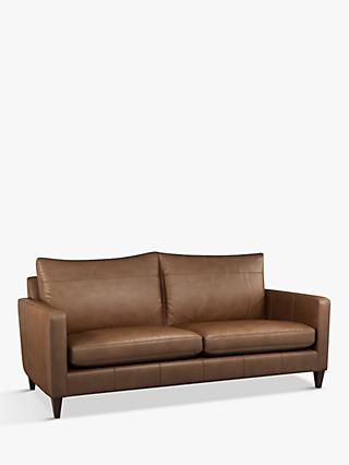 John Lewis & Partners Bailey Medium 2 Seather Leather Sofa, Dark Leg, Sellvagio Cognac