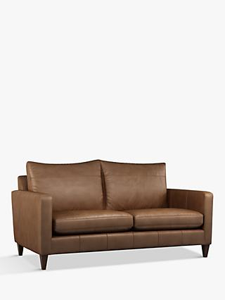 John Lewis & Partners Bailey Large 3 Seather Leather Sofa, Dark Leg, Sellvagio Cognac