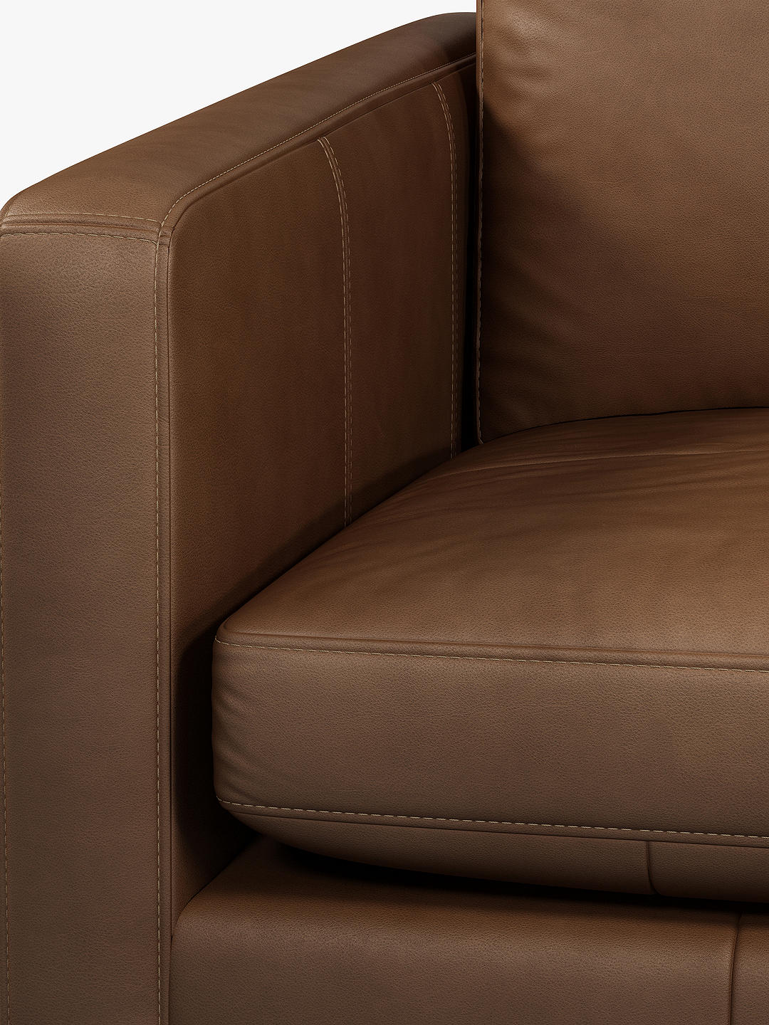 Buy John Lewis & Partners Bailey Large 3 Seather Leather Sofa, Dark Leg, Sellvagio Cognac Online at johnlewis.com