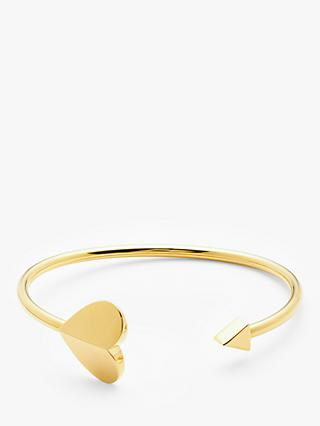 kate spade new york Arrow Heart Open Bangle, Gold