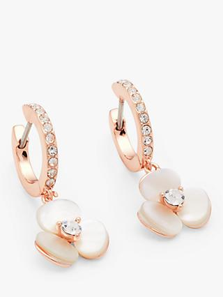 kate spade new york Flower Charm Hoop Earrings, Rose Gold