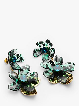 kate spade new york Petal Pushers Cubic Zirconia Linear Drop Earrings, Green/Multi