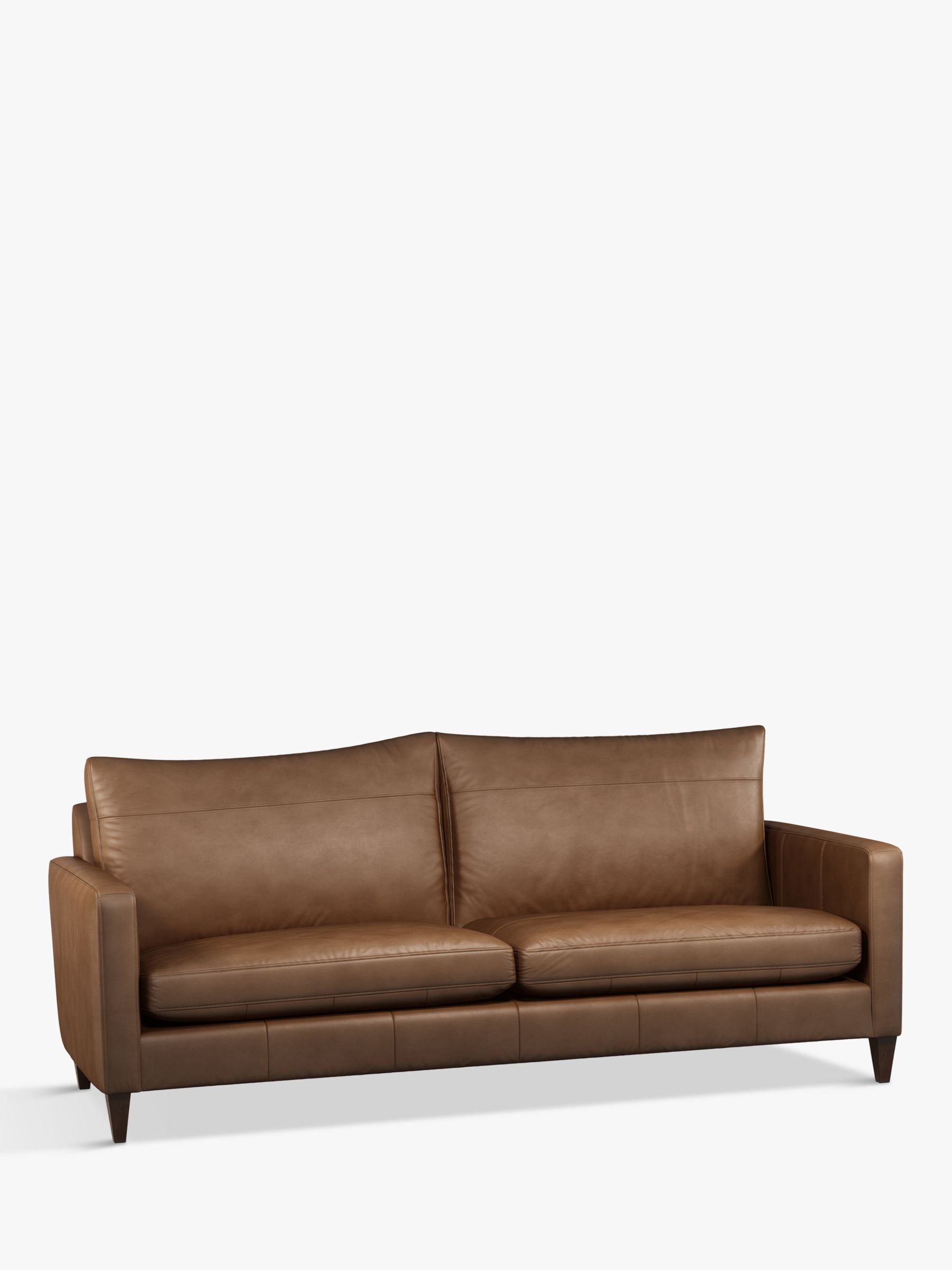 John Lewis & Partners Bailey Grand 4 Seater Leather Sofa, Dark Leg,  Sellvagio Cognac