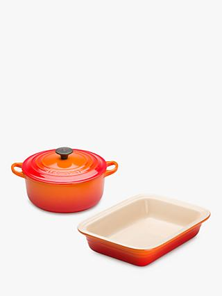 Le Creuset Cast Iron 20cm Casserole and 29cm Stoneware Dish Set, 2 Piece, Volcanic