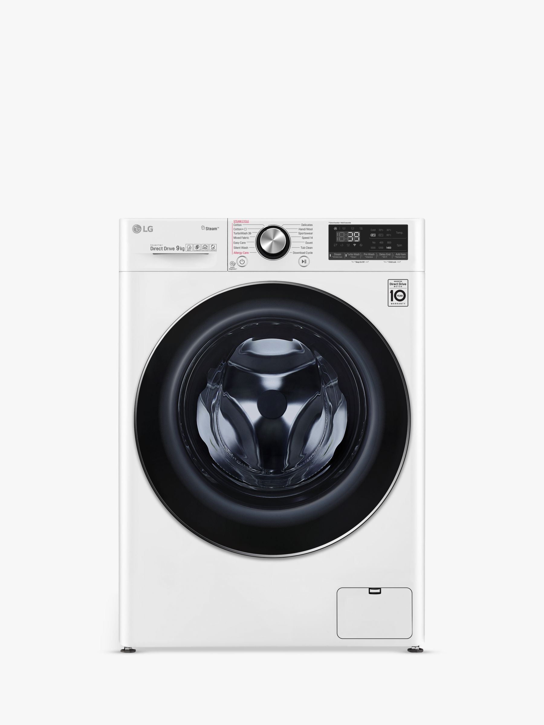 LG LG F4V909WTS Freestanding Washing Machine, 9kg Load, A+++ Energy Rating, 1400rpm Spin, White