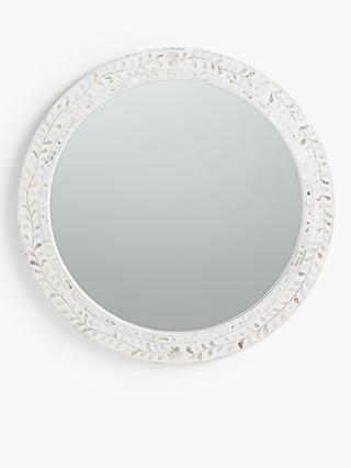 John Lewis & Partners Mother Of Pearl Leaves Round Mirror