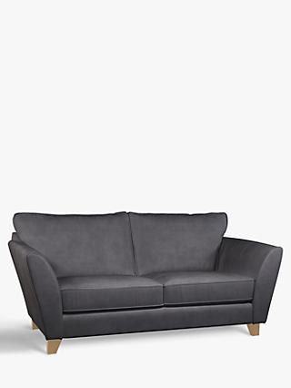 John Lewis & Partners Oslo Medium 2 Seater Leather Sofa, Dark Leg, Soft Touch Grey