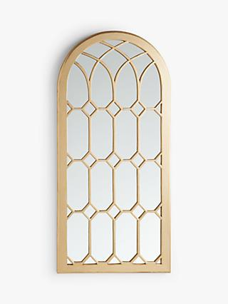 John Lewis & Partners Arched Window Mirror, 162 x 76cm, Antique Gold