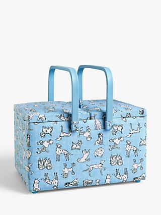 John Lewis & Partners Sketchy Dog Print Twin Lid Sewing Basket, Blue