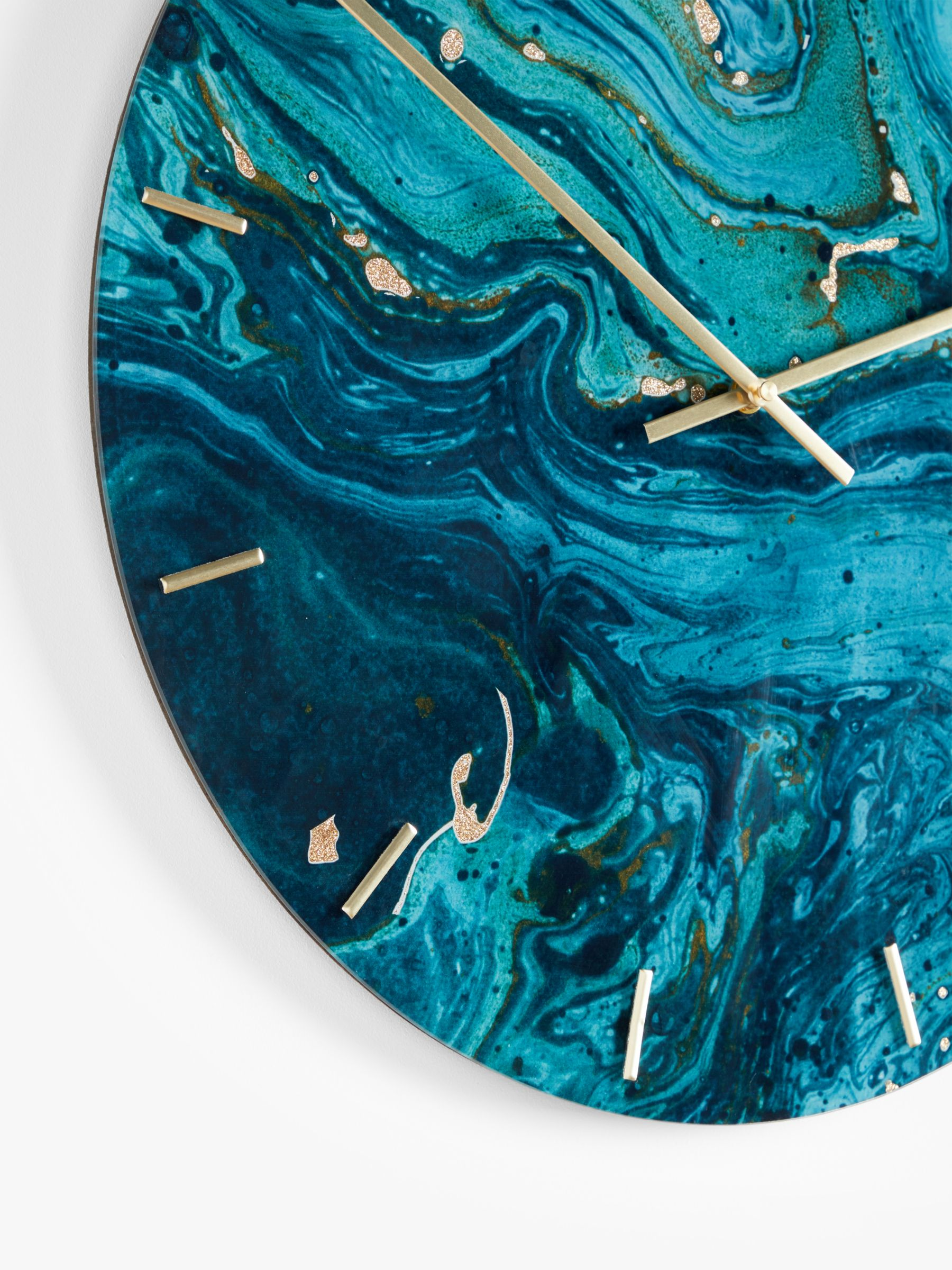 John Lewis Partners Marble Effect Glass Analogue Wall Clock 50cm Blue At John Lewis Partners
