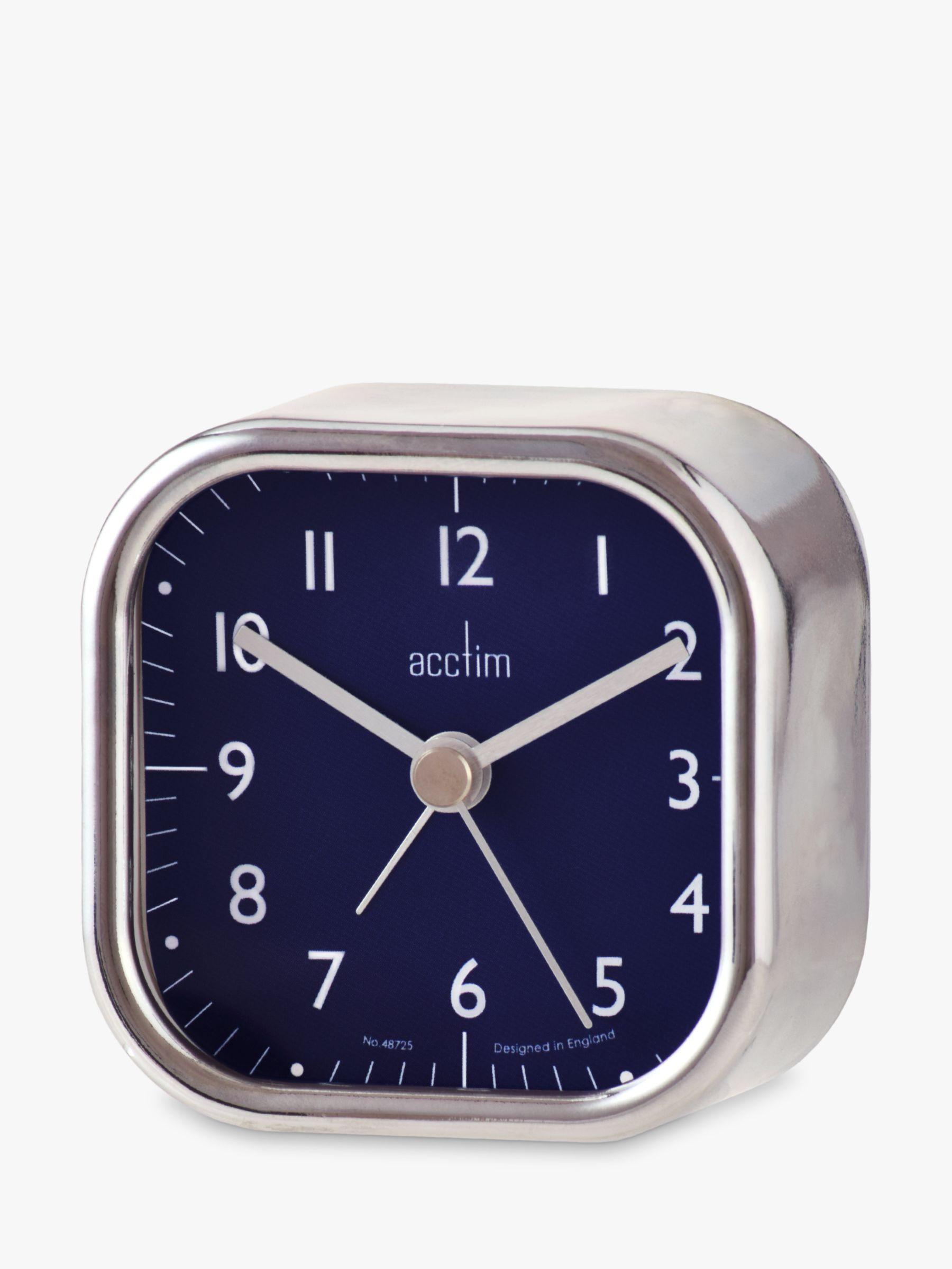 Acctim Acctim Zak Analogue Alarm Clock, 7cm, Chrome