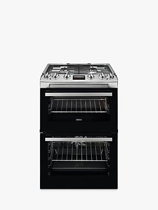 Zanussi ZCK66350 Double Dual Fuel Cooker, 60cm Wide, A Energy Rating