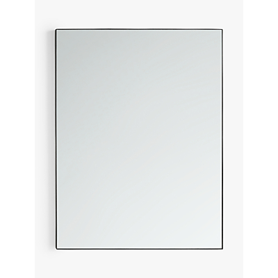 john lewis & partners metal frame rectangular mirror, 101 x 76cm, black