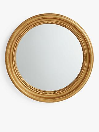 John Lewis & Partners Beaded Round Convex Mirror, 60cm, Gold