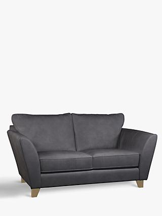 John Lewis & Partners Oslo Small 2 Seater Leather Sofa, Dark Leg, Soft Touch Grey