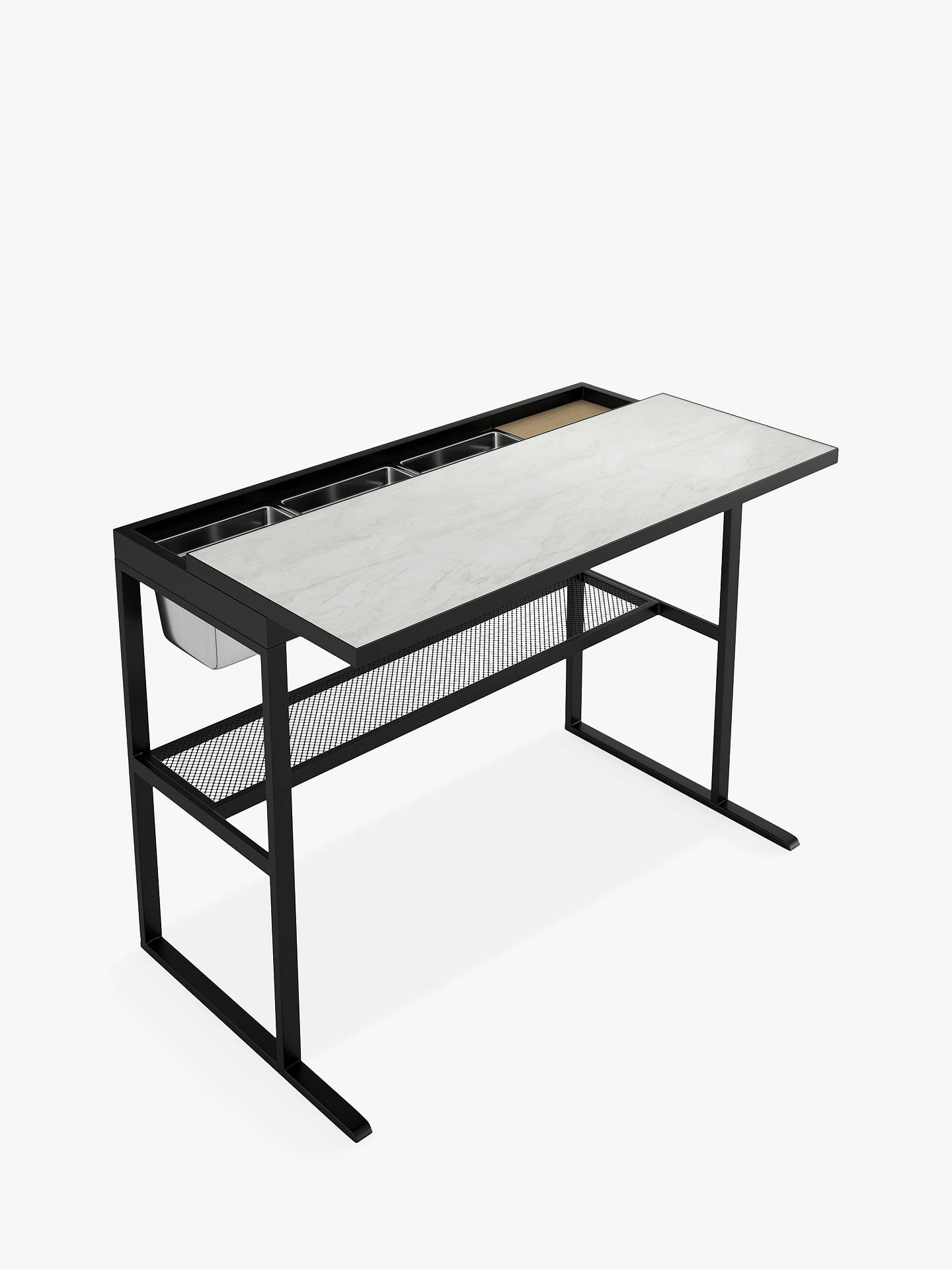 John Lewis Partners Linya Marble Effect Garden Bar Table Black
